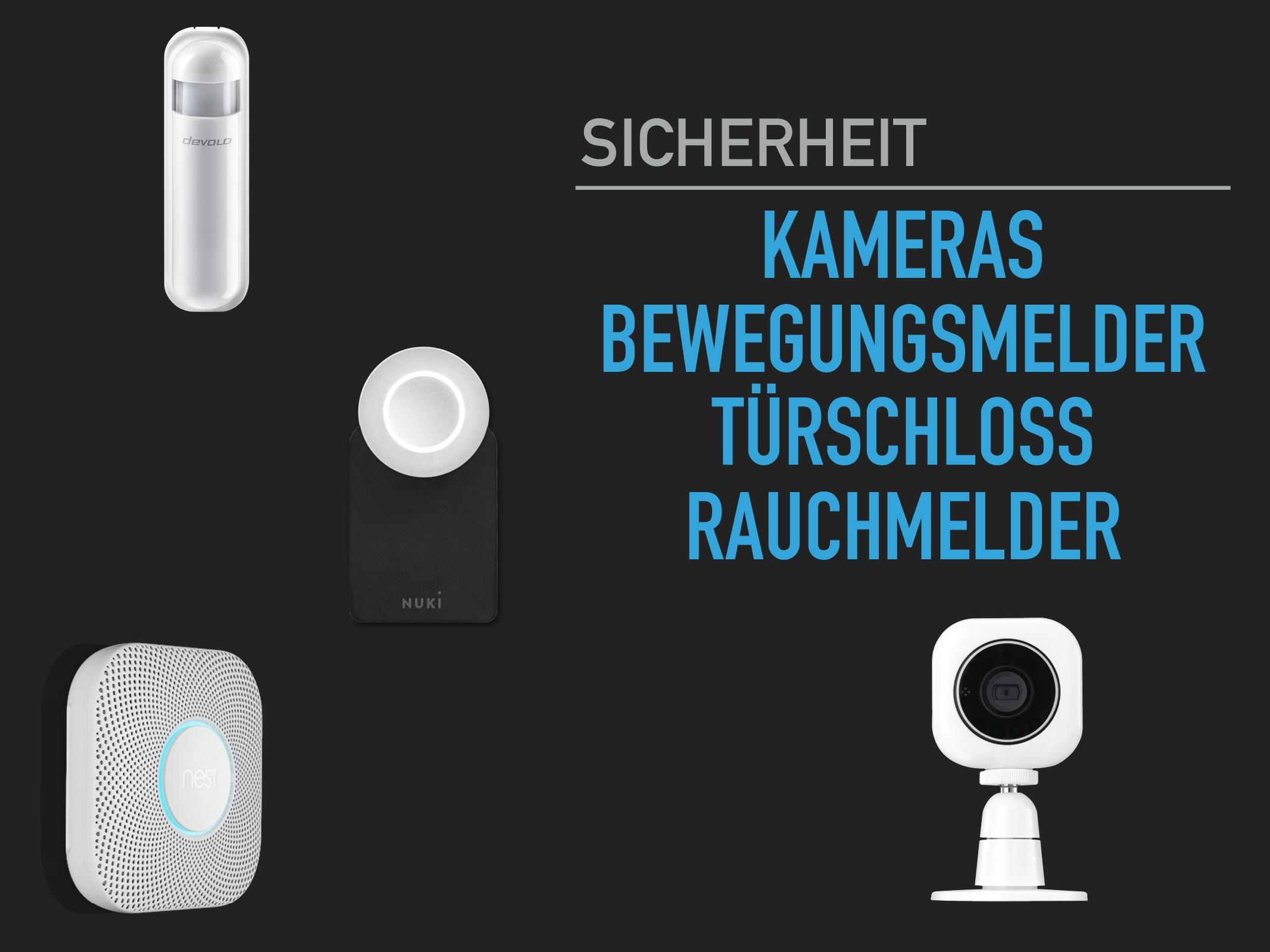 Kameras-Türschloss-Rauchmelder-Bewegunsgsmelder